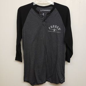 Forged Men's Black & Dark Gray Baseball Style T